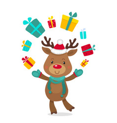 santas reindeer rudolph and gifts vector image