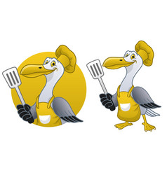 seagull cartoon chef mascot vector image