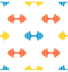 Seamless pattern of gym barbells sport vector