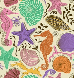 Seamless pattern of sea animals vector