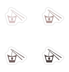 Set of paper stickers on white background Japanese vector