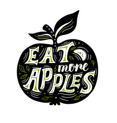 silhouette apple and lettering vector image