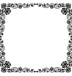 silhouette frame roses vector image