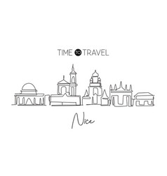Single continuous line drawing nice city vector