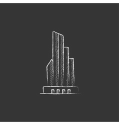 Skyscraper office building Drawn in chalk icon vector