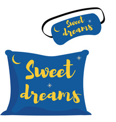 Sleep mask and pillow an icon in a flat style vector