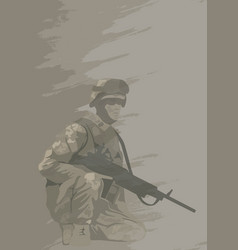 Soldier in combat position vector