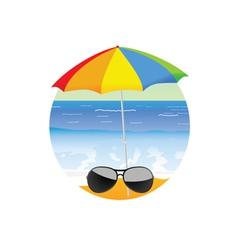 Sunglass on the beach cartoon art vector