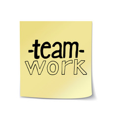 teamwork lettering on sticky note vector image