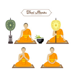 Thai monks action collections vector