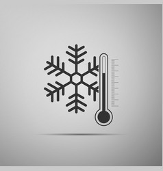 thermometer with snowflake icon on grey background vector image