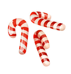 Tradition sweets - red and white candy canes vector