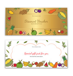 Tropical fruits theme gift certificate voucher vector