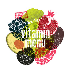 Vitamin vegan menu fruit and vegetables poster vector