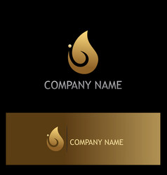 Water drop gold logo vector
