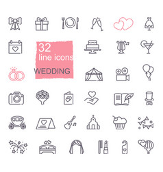 Wedding line icons set vector