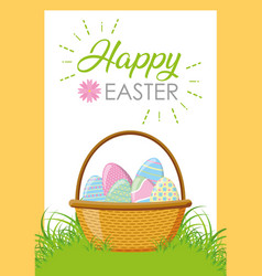 wicker basket happy easter eggs vector image