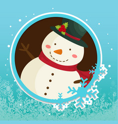 Winter circle snowman badge snowflake image vector