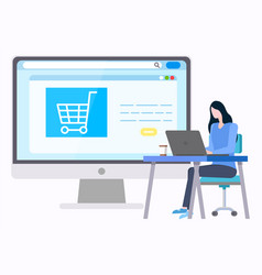 woman buyng goods in internet empty basket on site vector image