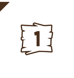 wooden alphabet blocks with number 1 in wood vector image