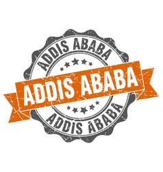 addis ababa round ribbon seal vector image vector image