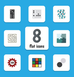 flat icon play set of jigsaw multiplayer bones vector image vector image