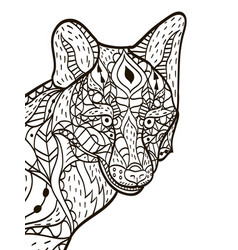 fox head coloring book for adults vector image vector image