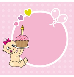 frame baby girl with cake vector image vector image