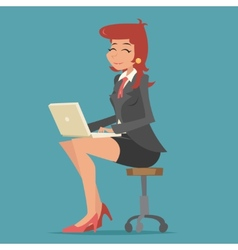 Happy smiling business woman lady character vector