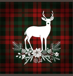merry christmas greeting card invitation deer vector image vector image