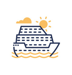 Passenger ship - modern single line icon vector