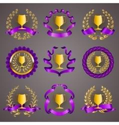 Set of luxury gold cups vector