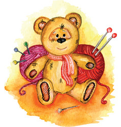 bear painted in watercolor vector image vector image