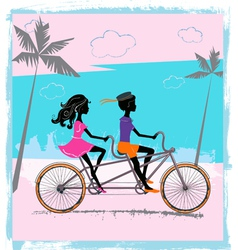 Children on tandem vector image vector image