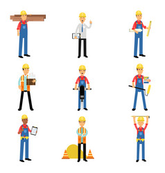 construction engineering industrial workers vector image vector image