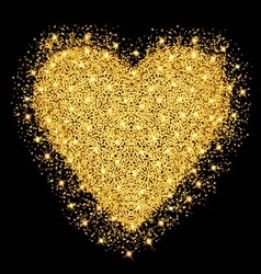 Happy Valentines day greeting card Gold heart with vector image vector image