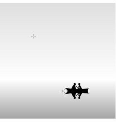 lovers in boat vector image