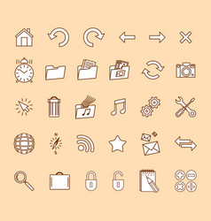 minimalistic modern web icons set vector image