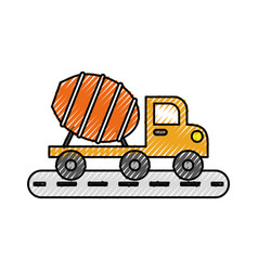 mixer truck construction vehicle transport vector image