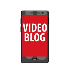 online video blog on smartphone live stream vector image vector image