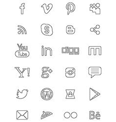 Social network black logos vector image