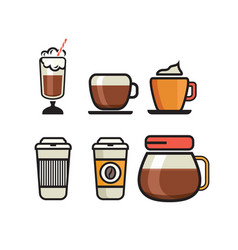 coffee icons - flat coffee icons vector image
