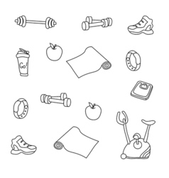 fitness equipment set hand drwan doodles vector image