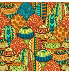 Hand-drawn doodle Easter seamless pattern vector image