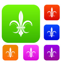 lily heraldic emblem set collection vector image