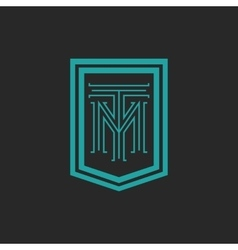 Monogram hipster frame form shield crest blue and vector image vector image