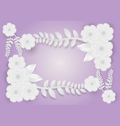 paper art style of flowers with vines on a purple vector image vector image