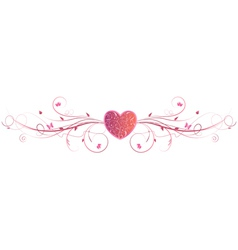 Pink heart floral vector