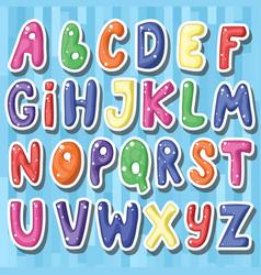 set of cute childish cartoon colored alphabet i vector image