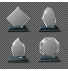 Clear glass award certificates goals team crystal vector